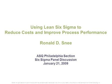 Increase Efficiency using Six Sigma Technology