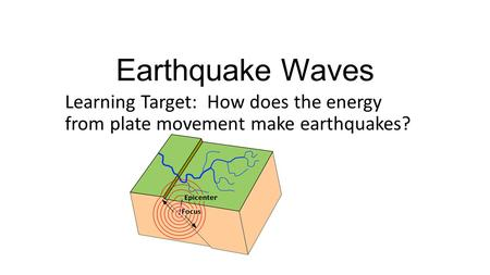 Earthquake Waves Learning Target: How does the energy from plate movement make earthquakes?