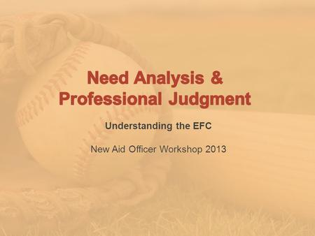 Understanding the EFC New Aid Officer Workshop 2013.