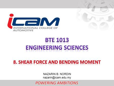 8. SHEAR FORCE AND BENDING MOMENT