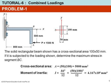  2005 Pearson Education South Asia Pte Ltd TUTORIAL-6 : Combined Loadings 1 PROBLEM-1 The solid rectangular beam shown has a cross-sectional area 100x50.