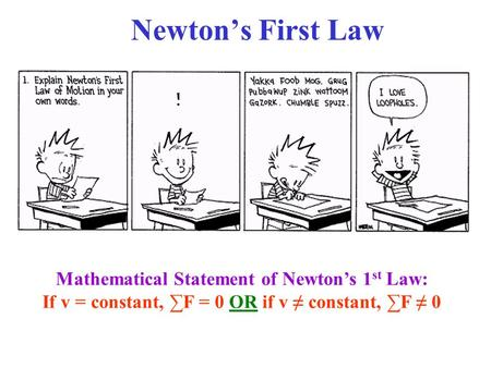 Newton's First Law Mathematical Statement of Newton's 1st Law: