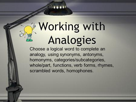 Working with Analogies