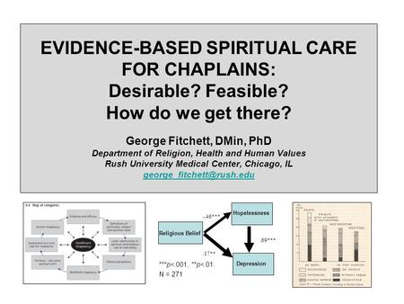 EVIDENCE-BASED SPIRITUAL CARE FOR CHAPLAINS: Desirable? Feasible? How do we get there? George Fitchett, DMin, PhD Department of Religion, Health and Human.