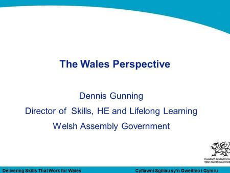 Delivering Skills That Work for Wales Cyflawni Sgiliau sy'n Gweithio i Gymru The Wales Perspective Dennis Gunning Director of Skills, HE and Lifelong Learning.