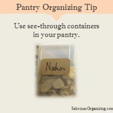 Use see-through containers in your pantry. Pantry Organizing Tip SabrinasOrganizing.com/blog.
