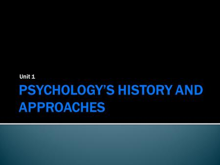 Unit 1.  What is Psychology?  Contemporary Psychology.