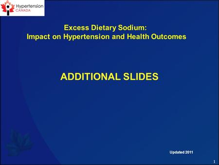 1 ADDITIONAL SLIDES Excess Dietary Sodium: Impact on Hypertension and Health Outcomes Updated 2011.