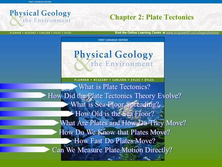 Chapter 2: Plate Tectonics Visit the Online Learning Centre at www.mcgrawhill.ca/college/plummerwww.mcgrawhill.ca/college/plummer Chapter 2: Plate Tectonics.