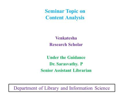 Seminar Topic on Content Analysis