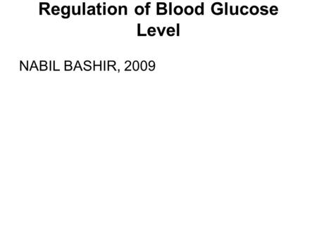 Regulation of Blood Glucose Level