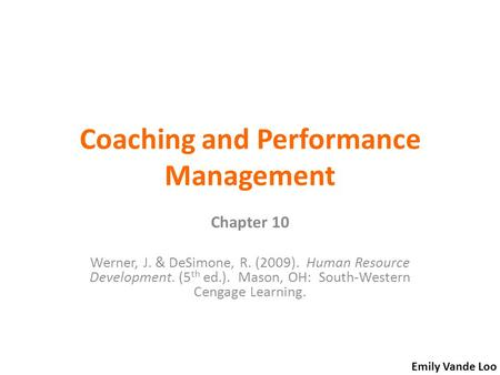 Coaching and Performance Management
