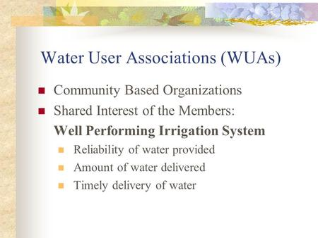 Water User Associations (WUAs) Community Based Organizations Shared Interest of the Members: Well Performing Irrigation System Reliability of water provided.