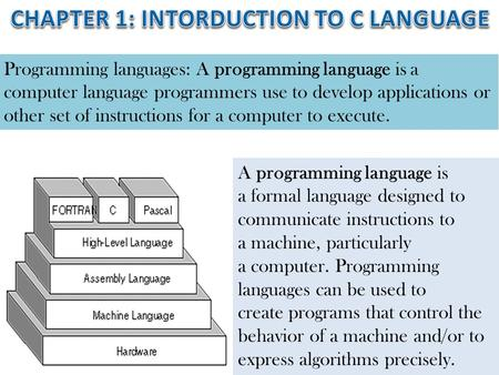 CHAPTER 1: INTORDUCTION TO C LANGUAGE