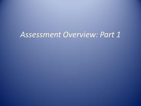 Assessment Overview: Part 1. Overview Overview of IDEA Data – Not other college assessments like AACP surveys, experiential results, dashboards, etc.