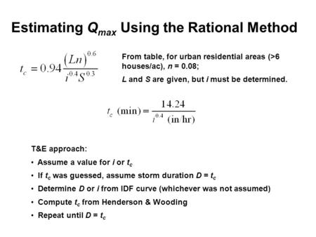 Estimating Q max Using the Rational Method From table, for urban residential areas (>6 houses/ac), n = 0.08; L and S are given, but i must be determined.