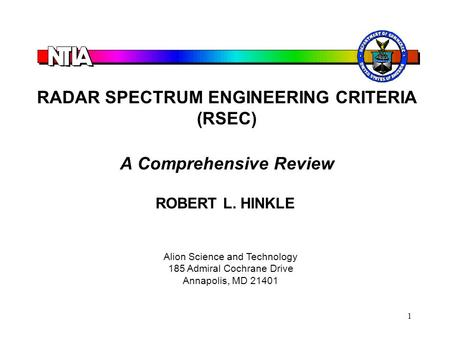 RADAR SPECTRUM ENGINEERING CRITERIA (RSEC) A Comprehensive Review