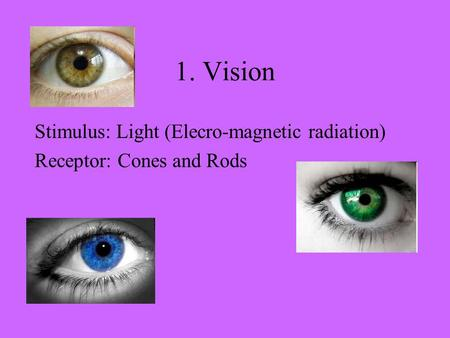 1. Vision Stimulus: Light (Elecro-magnetic radiation) Receptor: Cones and Rods.