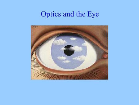 Optics and the Eye. The Visible Spectrum Some similarities between the eye and a camera.