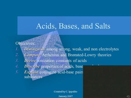 Created by C. Ippolito January 2007 Acids, Bases, and Salts Objectives: 1.Distinguish 1.Distinguish among strong, weak, and non electrolytes 2.Compare.