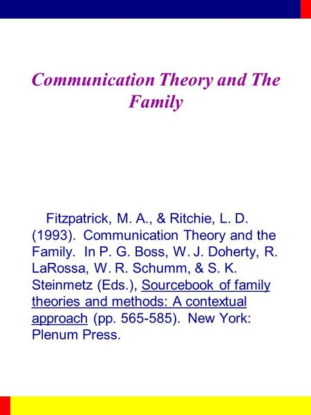 Communication Theory and The Family Fitzpatrick, M. A., & Ritchie, L. D. (1993). Communication Theory and the Family. In P. G. Boss, W. J. Doherty, R.