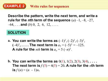EXAMPLE 2 Write rules for sequences