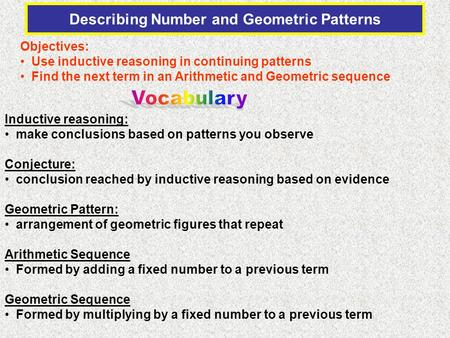 Describing Number and Geometric Patterns