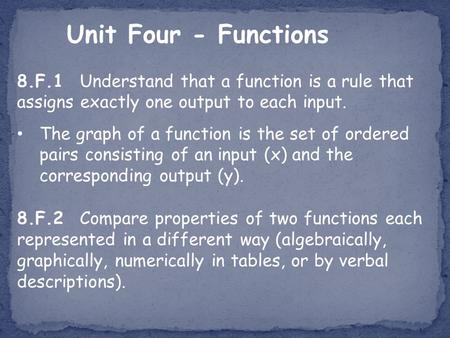 Unit Four - Functions 8.F.1 Understand that a function is a rule that assigns exactly one output to each input. The graph of a function is the set of ordered.