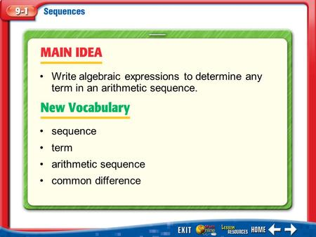 Write algebraic expressions to determine any term in an arithmetic sequence. common difference Main Idea/Vocabulary.