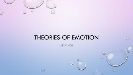 THEORIES OF EMOTION AP PSYCH. THEORIES HOW DO BIOLOGY, COGNITION, AND BEHAVIOR INTERACT TO PRODUCE EMOTION? IS ONE THE CAUSE OF THE OTHERS? EACH THEORY.