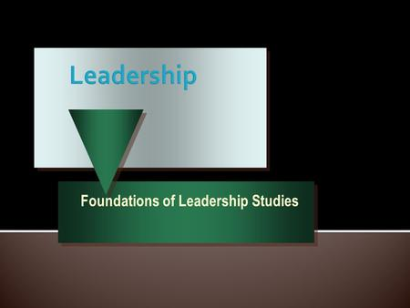 Foundations of Leadership Studies.  Charismatic Leadership  Transactional leadership  Transformational Leadership.