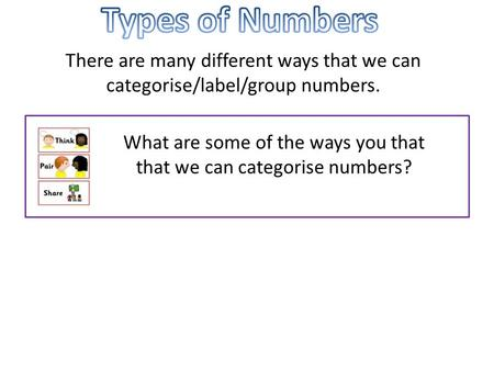 There are many different ways that we can categorise/label/group numbers. What are some of the ways you that that we can categorise numbers?