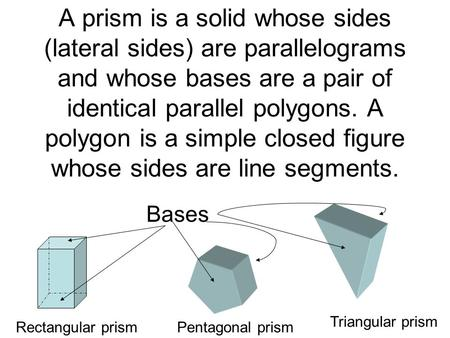 A prism is a solid whose sides (lateral sides) are parallelograms and whose bases are a pair of identical parallel polygons. A polygon is a simple closed.