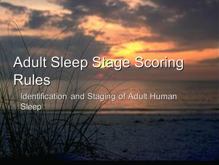 Adult Sleep Stage Scoring Rules Identification and Staging of Adult Human Sleep.