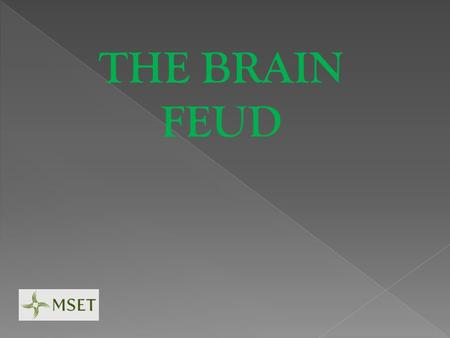 THE BRAIN FEUD. The neurotransmitter crosses a gap to bind to another neuron, this process is known as: SYNAPSE.