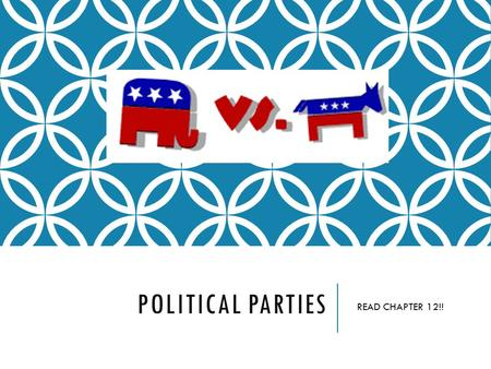 POLITICAL PARTIES READ CHAPTER 12!!. POLITICAL PARTIES  Organized effort by office holders, activist, and voters to peruse their common interest by gaining.
