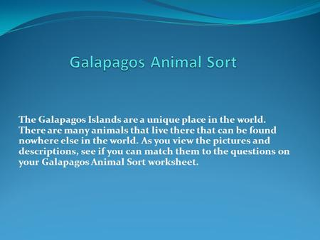 The Galapagos Islands are a unique place in the world. There are many animals that live there that can be found nowhere else in the world. As you view.