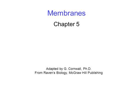 Membranes Chapter 5 Adapted by G. Cornwall, Ph.D.