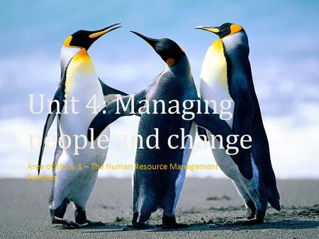 Unit 4: Managing people and change Area of Study 1 – The Human Resource Management Function.