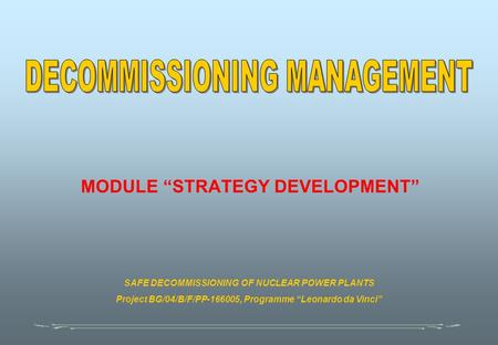 "MODULE ""STRATEGY DEVELOPMENT"" SAFE DECOMMISSIONING OF NUCLEAR POWER PLANTS Project BG/04/B/F/PP-166005, Programme ""Leonardo da Vinci"""