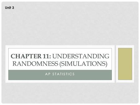 Chapter 11: understanding randomness (Simulations)