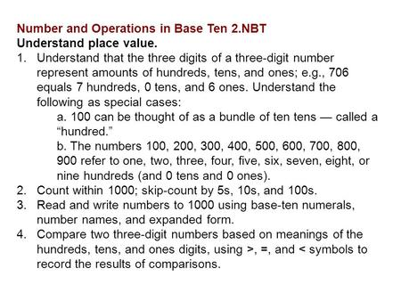 Number and Operations in Base Ten 2.NBT Understand place value. 1.Understand that the three digits of a three-digit number represent amounts of hundreds,