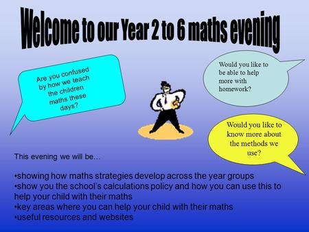 This evening we will be… showing how maths strategies develop across the year groups show you the school's calculations policy and how you can use this.
