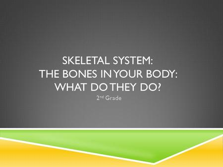 SKELETAL SYSTEM: THE BONES IN YOUR BODY: WHAT DO THEY DO? 2 nd Grade.