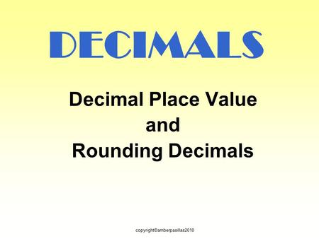 Decimal Place Value and Rounding Decimals