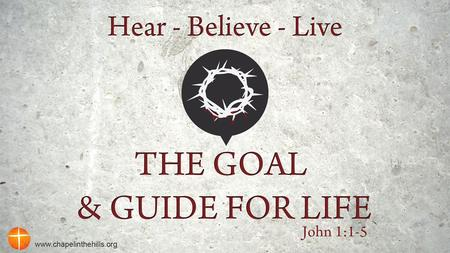 "Jesus is the Goal of Life John identifies Jesus as the ""Word"". John is purposefully using ambiguity to cause his readers to slow down and think through."