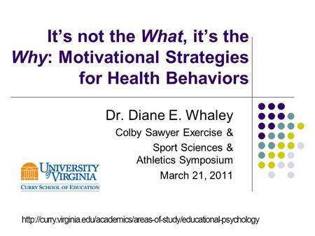 It's not the What, it's the Why: Motivational Strategies for Health Behaviors Dr. Diane E. Whaley Colby Sawyer Exercise & Sport Sciences & Athletics Symposium.