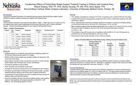 Introduction This study evaluated the effects of a treadmill training program with partial body weight support (PBWS) to improve walking endurance in children.