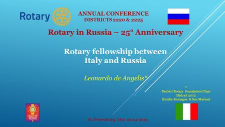 Rotary in Russia – 25° Anniversary Rotary fellowship between Italy and Russia Leonardo de Angelis* St. Petersburg, May 22-24 2015 ANNUAL CONFERENCE DISTRICTS.