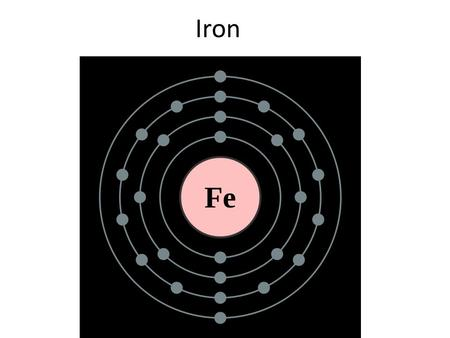 Iron. Atomic properties of iron Chemical element with the symbol Fe Atomic number 26 Melting point 1538 °C Boiling point 2862 °C Ferromagnetic Vickers.